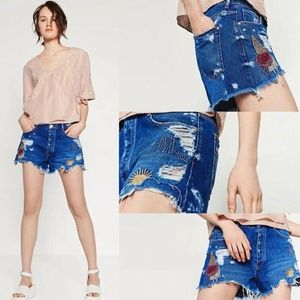Zara Embroidered Distressed Cutoff Denim Shorts